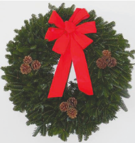 Traditional FF Wreath-pines cones & bow